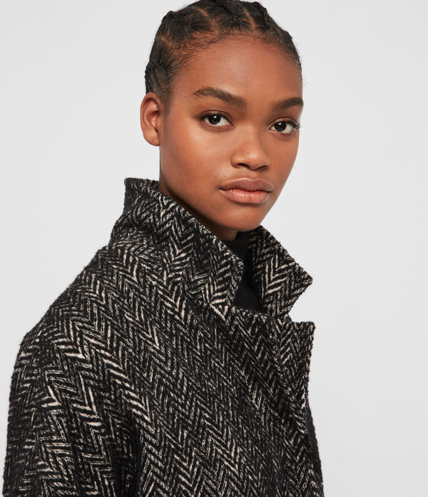Manteau Long à Chevrons Teya