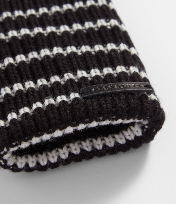 Stripe Knit Cuff Leather Gloves