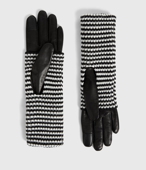 stripe cuff leather gloves