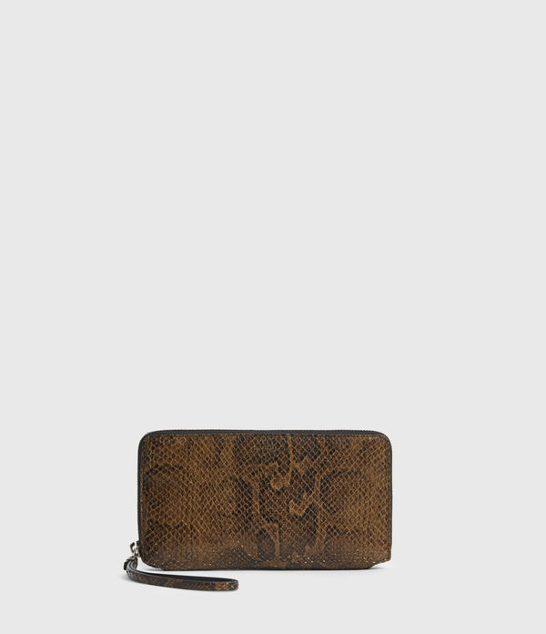Fetch Leather Phone Snakeskin Wristlet