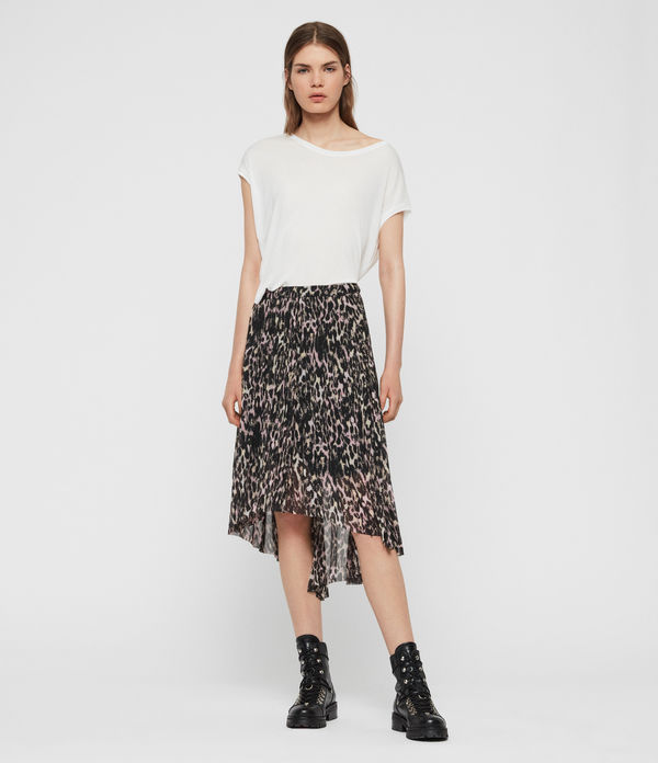 lea leopard long skirt