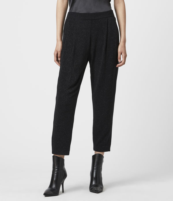 Aleida Tapered Low-Rise Shimmer Trousers