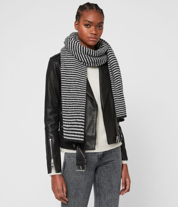 Striped Wool Blend Scarf