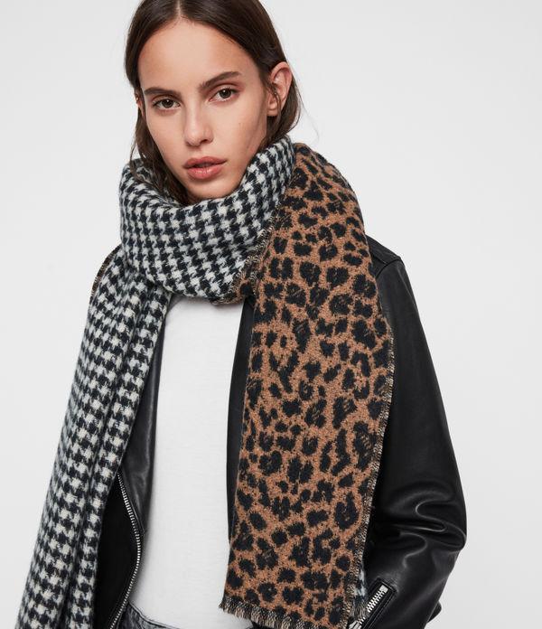 Reversible Leopard Wool Blend Scarf