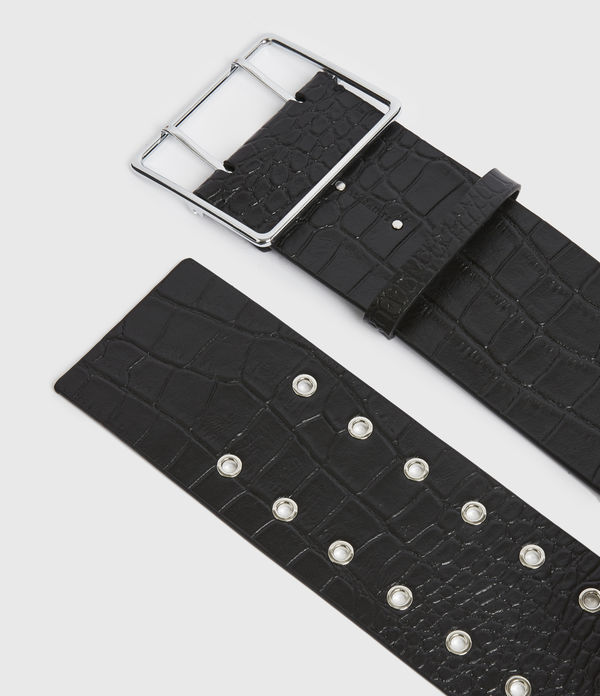 Aline Leather Croco Belt
