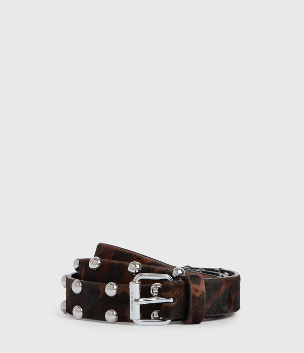 Canis Leopard Leather Belt
