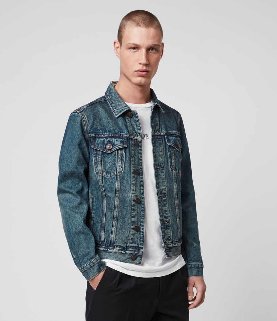 Mens Drub Denim Jacket (green_cast_indigo) - Image 4