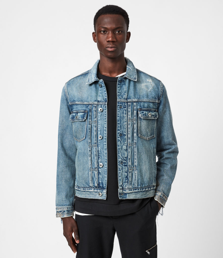 Mens Dunmore Distressed Denim Jacket (mid_indigo) - Image 1