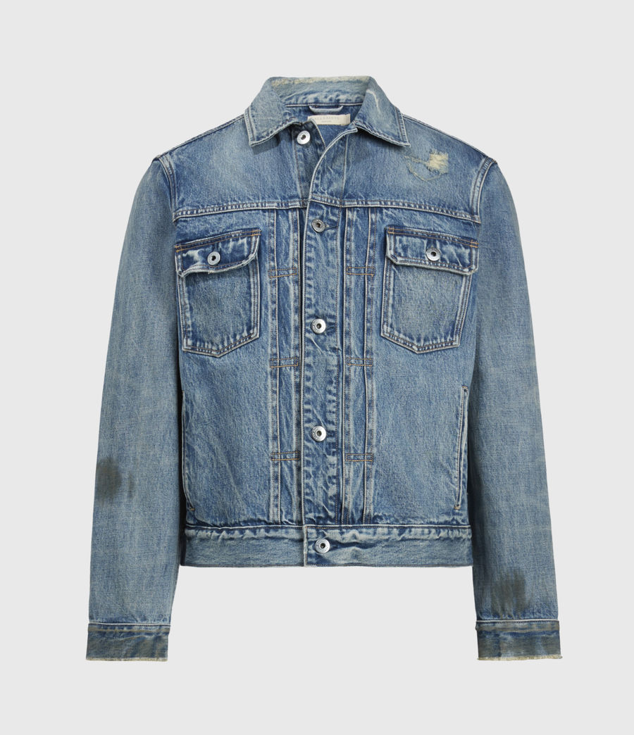 Mens Dunmore Distressed Denim Jacket (mid_indigo) - Image 2