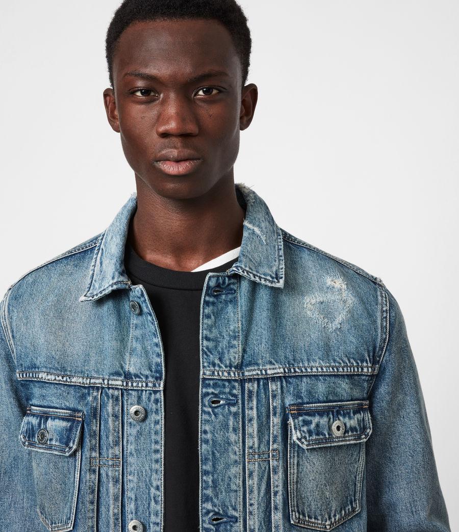 Mens Dunmore Distressed Denim Jacket (mid_indigo) - Image 4