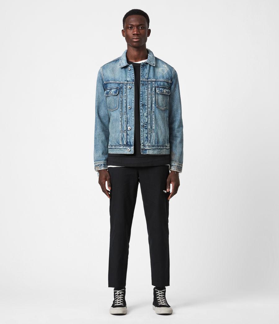 Mens Dunmore Distressed Denim Jacket (mid_indigo) - Image 6