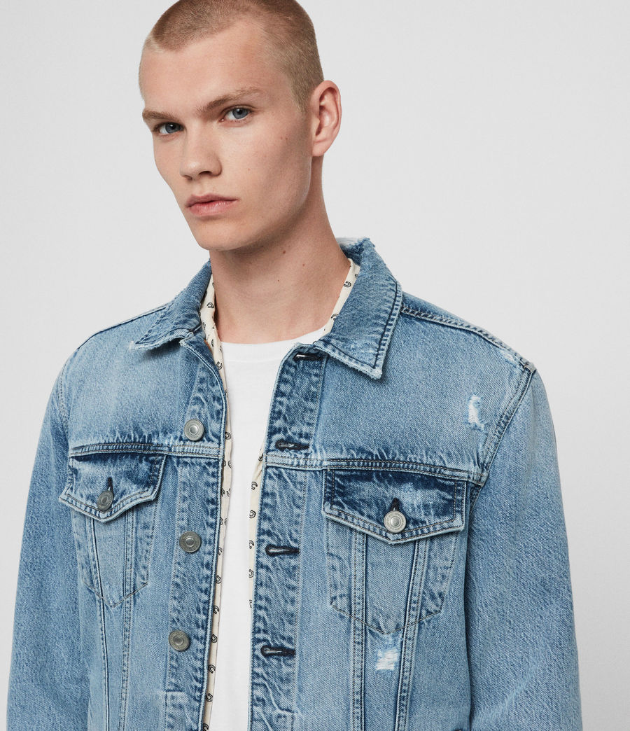 Mens Idle Denim Jacket (washed_indigo) - Image 2