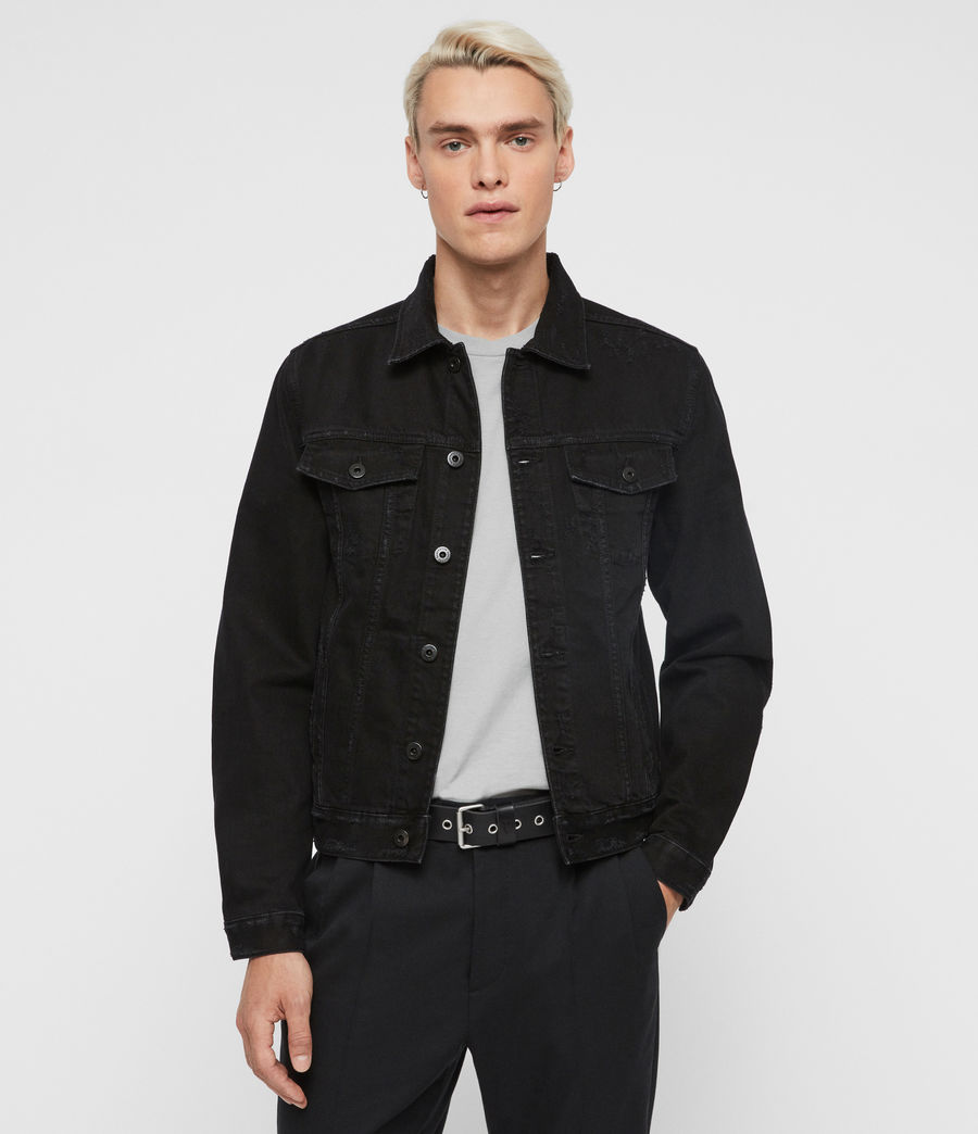 Men's Blank Denim Jacket (black) - Image 1