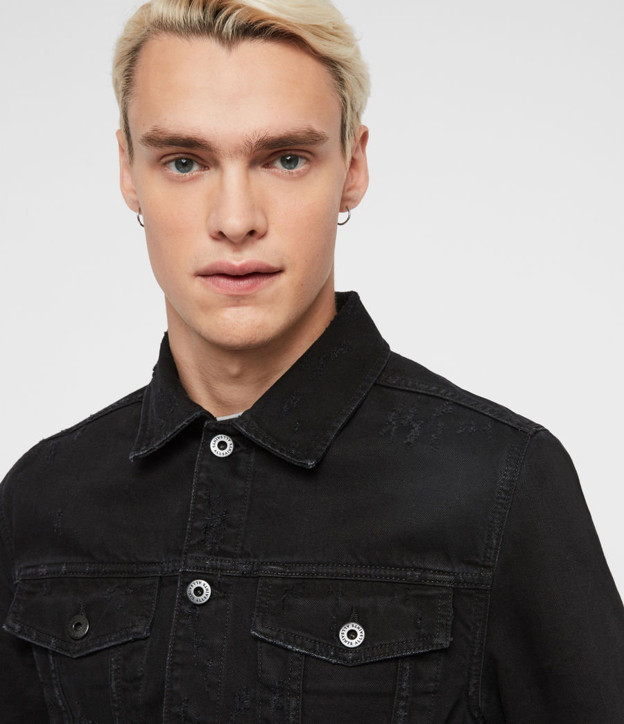 Men's Blank Denim Jacket (black) - Image 2