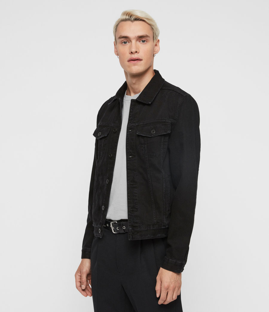 Mens Blank Denim Jacket (black) - Image 4