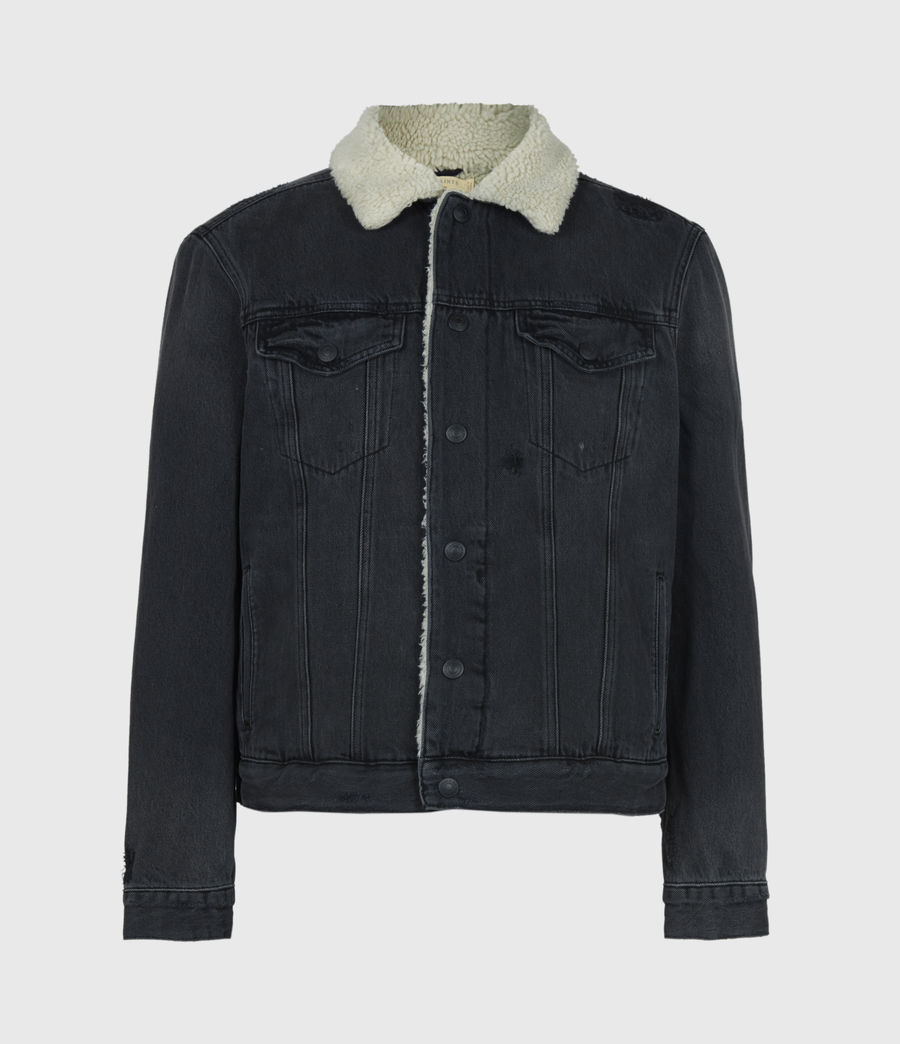 Men's Morton Sherpa-Lined Denim Jacket (washed_black) - Image 2