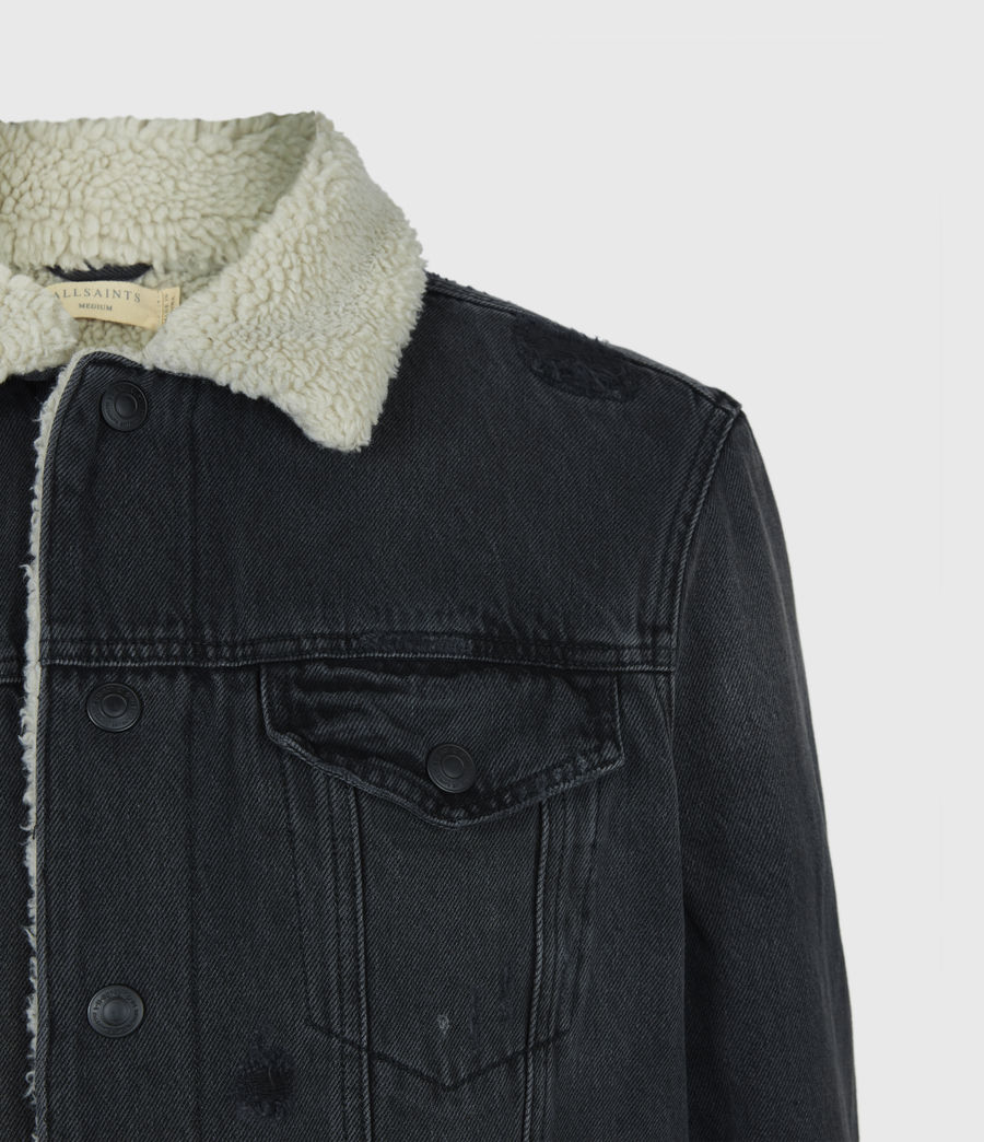 Men's Morton Sherpa-Lined Denim Jacket (washed_black) - Image 5