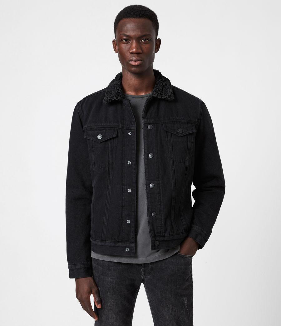 Mens Alder Sherpa-Lined Denim Jacket (black) - Image 1