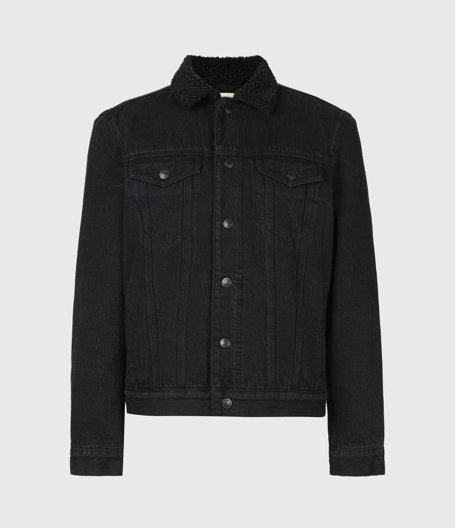 Mens Alder Sherpa-Lined Denim Jacket (black) - Image 2