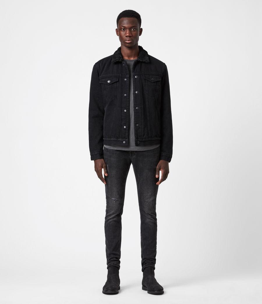 Mens Alder Sherpa-Lined Denim Jacket (black) - Image 4