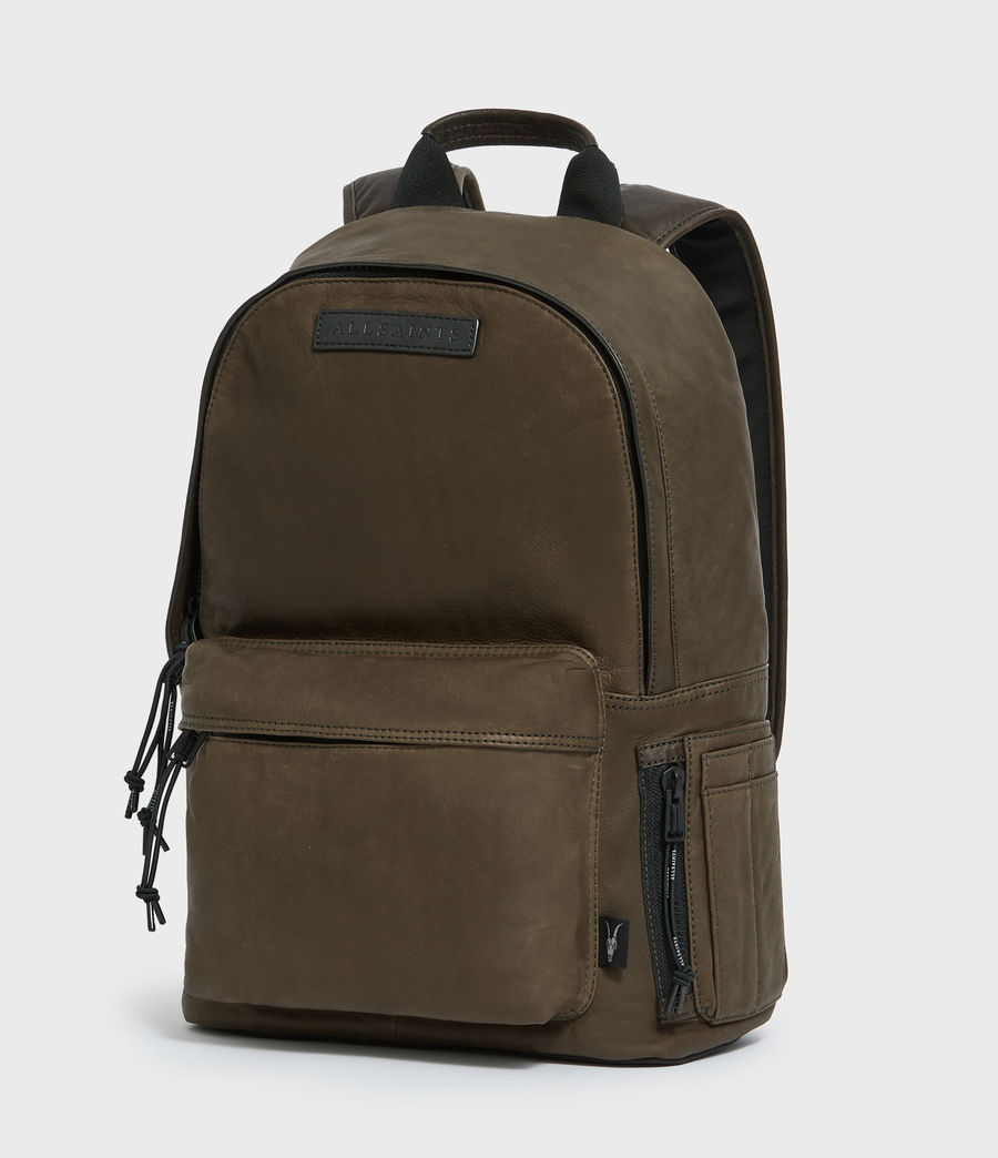 Mens Hayes Leather Rucksack (dark_khaki_green) - Image 4