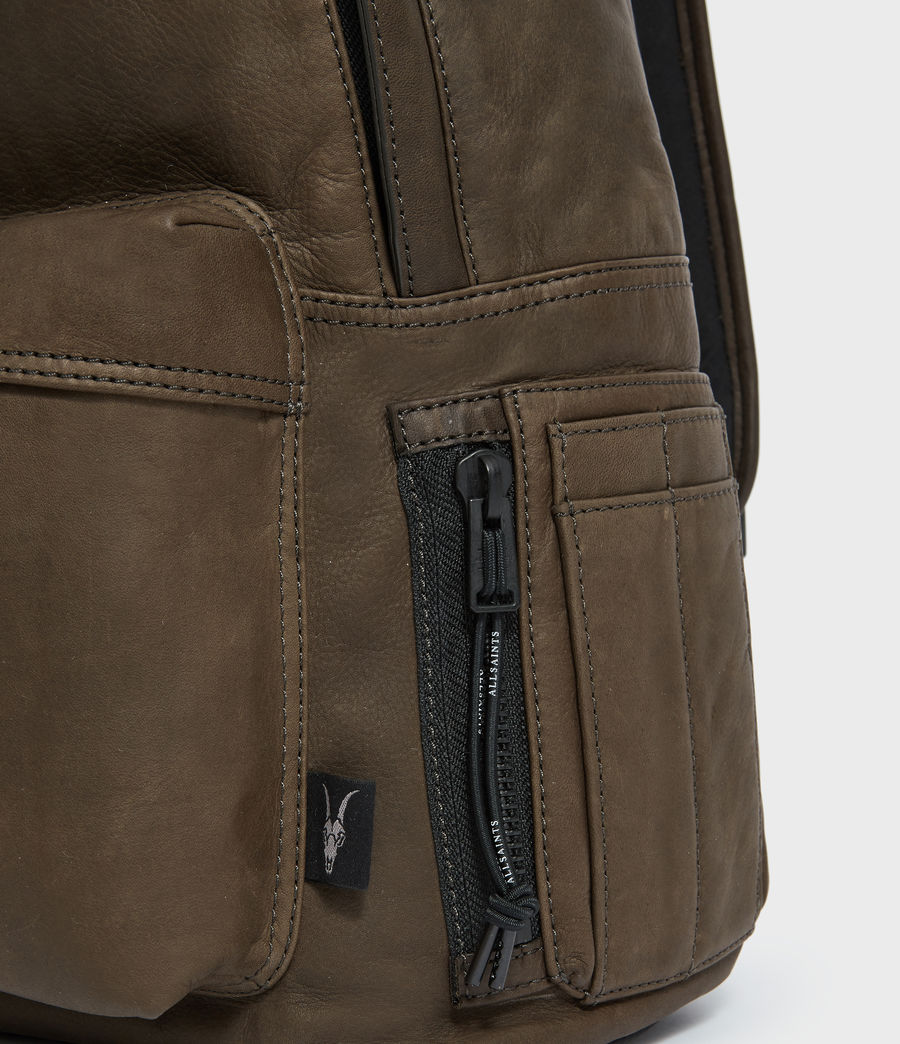 Mens Hayes Leather Rucksack (dark_khaki_green) - Image 5