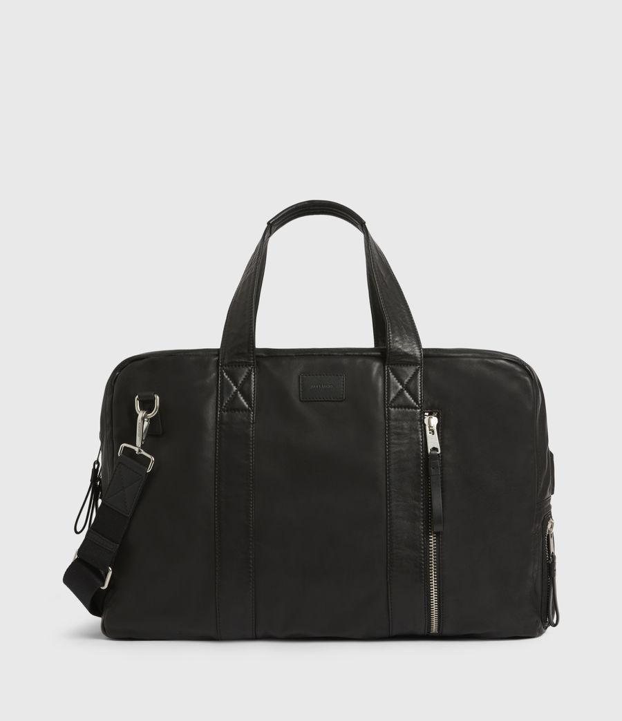 Mens Aviator Leather Holdall Bag (black) - Image 1
