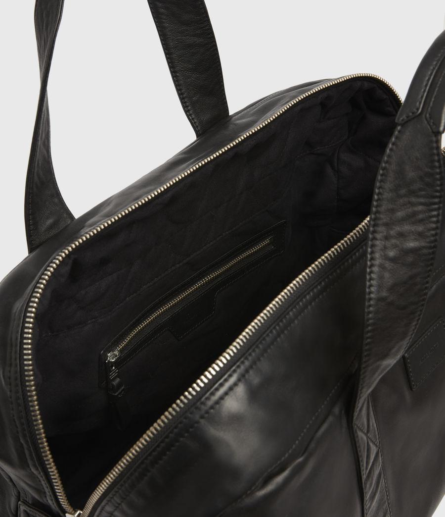 Mens Aviator Leather Holdall Bag (black) - Image 2