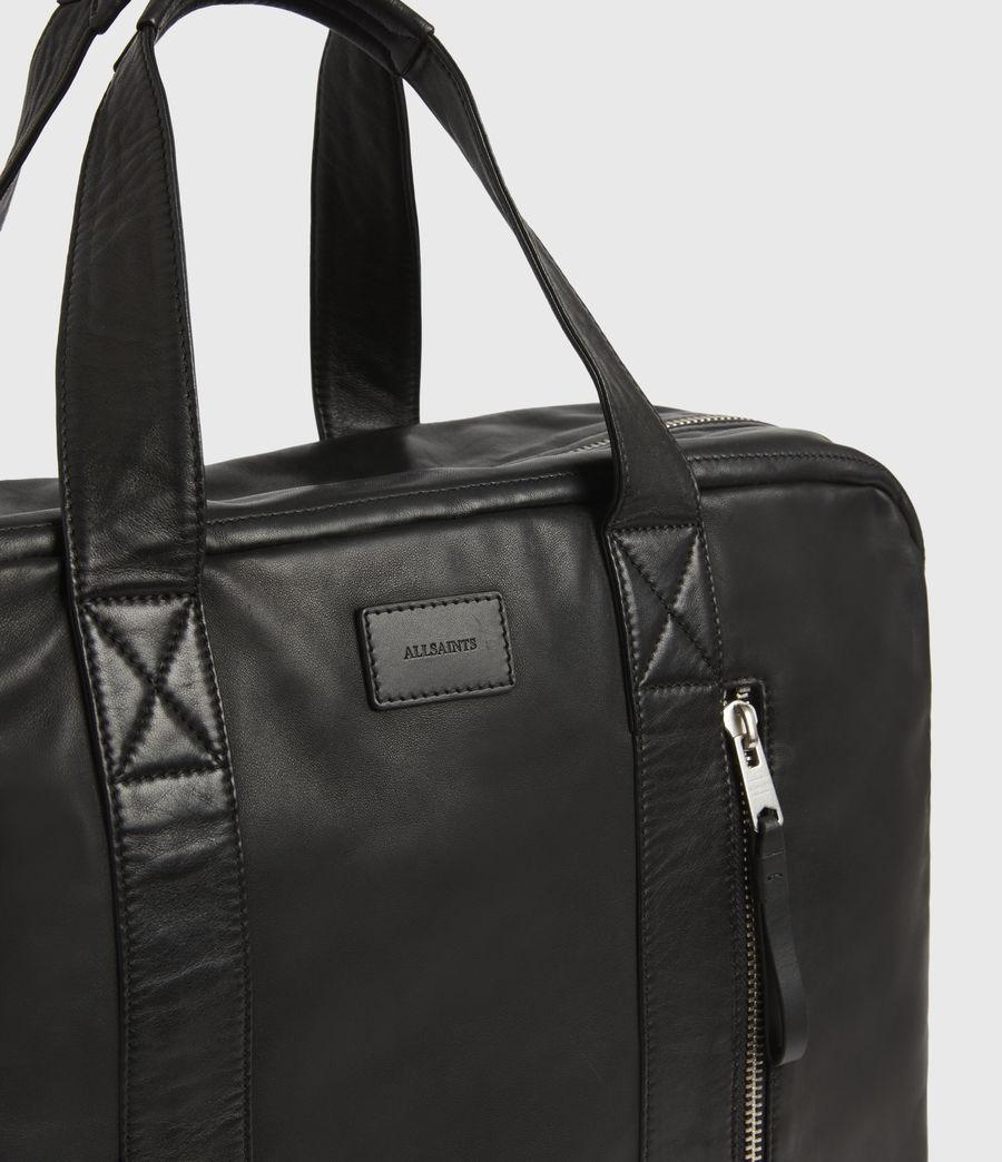 Mens Aviator Leather Holdall Bag (black) - Image 4