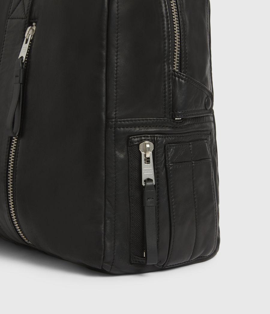 Mens Aviator Leather Holdall Bag (black) - Image 5