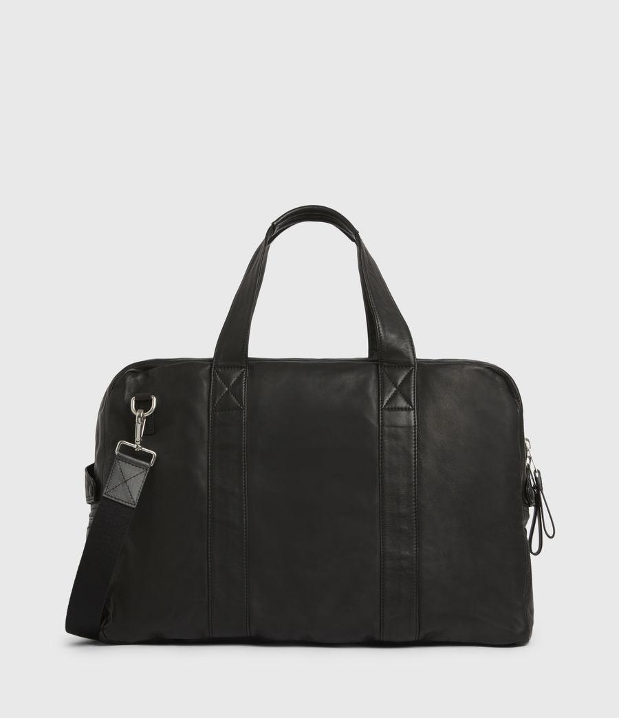 Mens Aviator Leather Holdall Bag (black) - Image 6