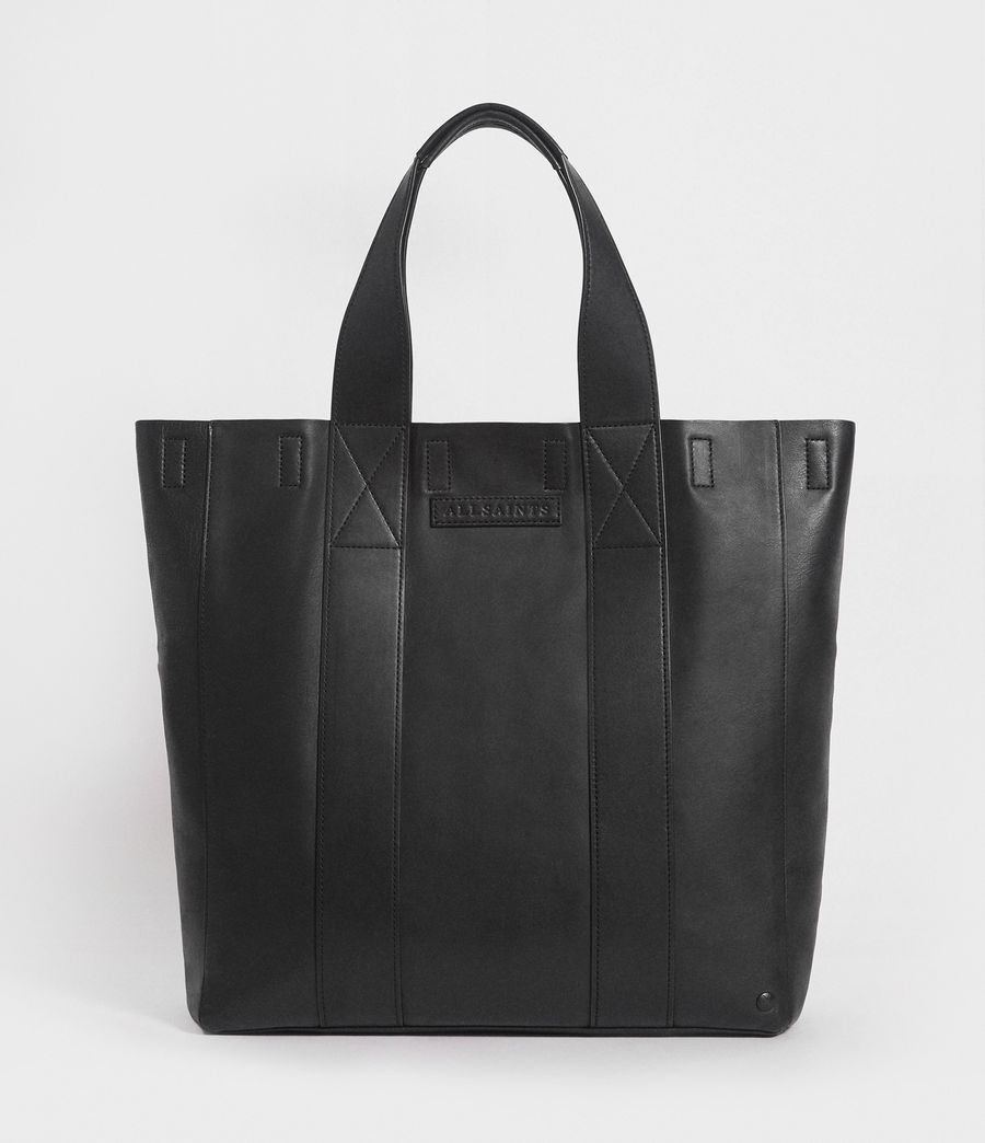 Mens Holt Leather Tote Bag Washed Black Image 1