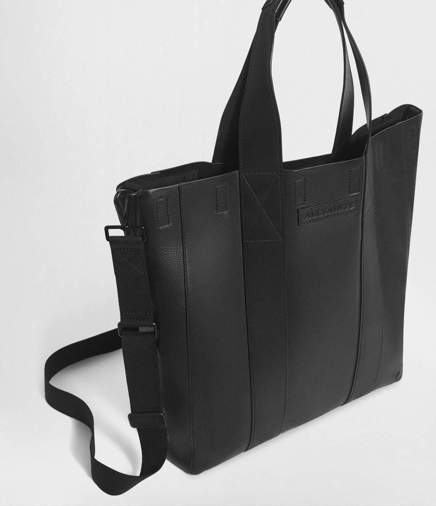 Mens Holt Leather Tote Bag (washed_black) - Image 4