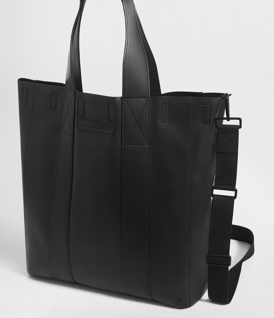 Mens Holt Leather Tote Bag (washed_black) - Image 5