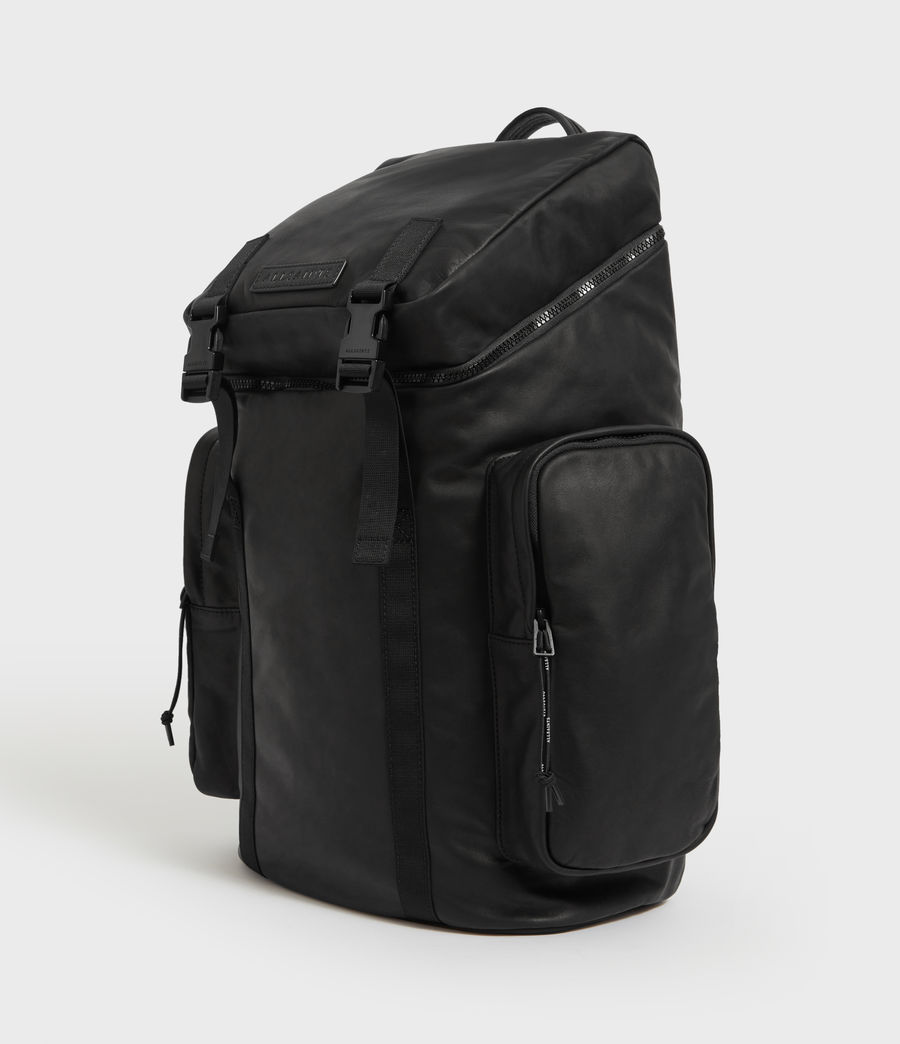 Mens Clermont Leather Rucksack (black) - Image 2