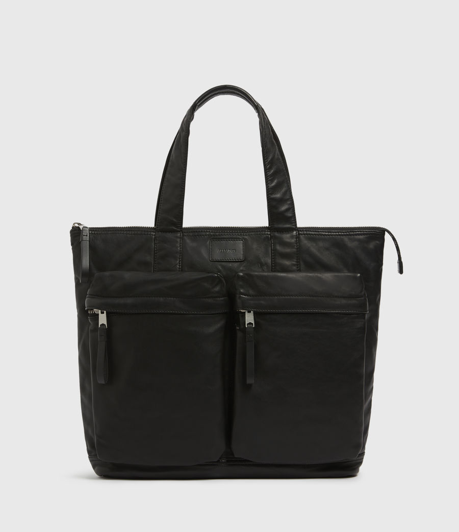 Mens Combat Leather Tote Bag (black) - Image 1