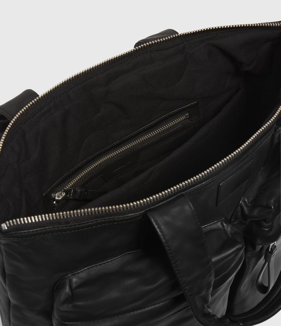 Mens Combat Leather Tote Bag (black) - Image 2