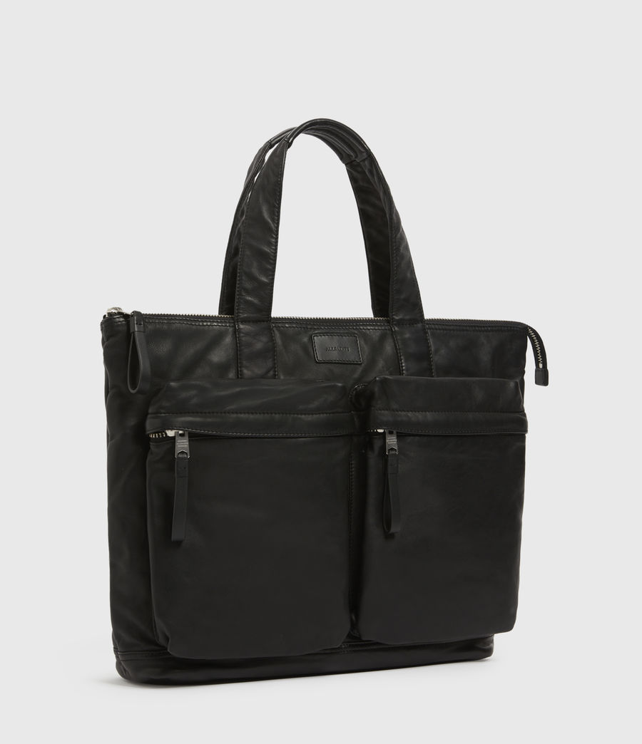 Mens Combat Leather Tote Bag (black) - Image 3