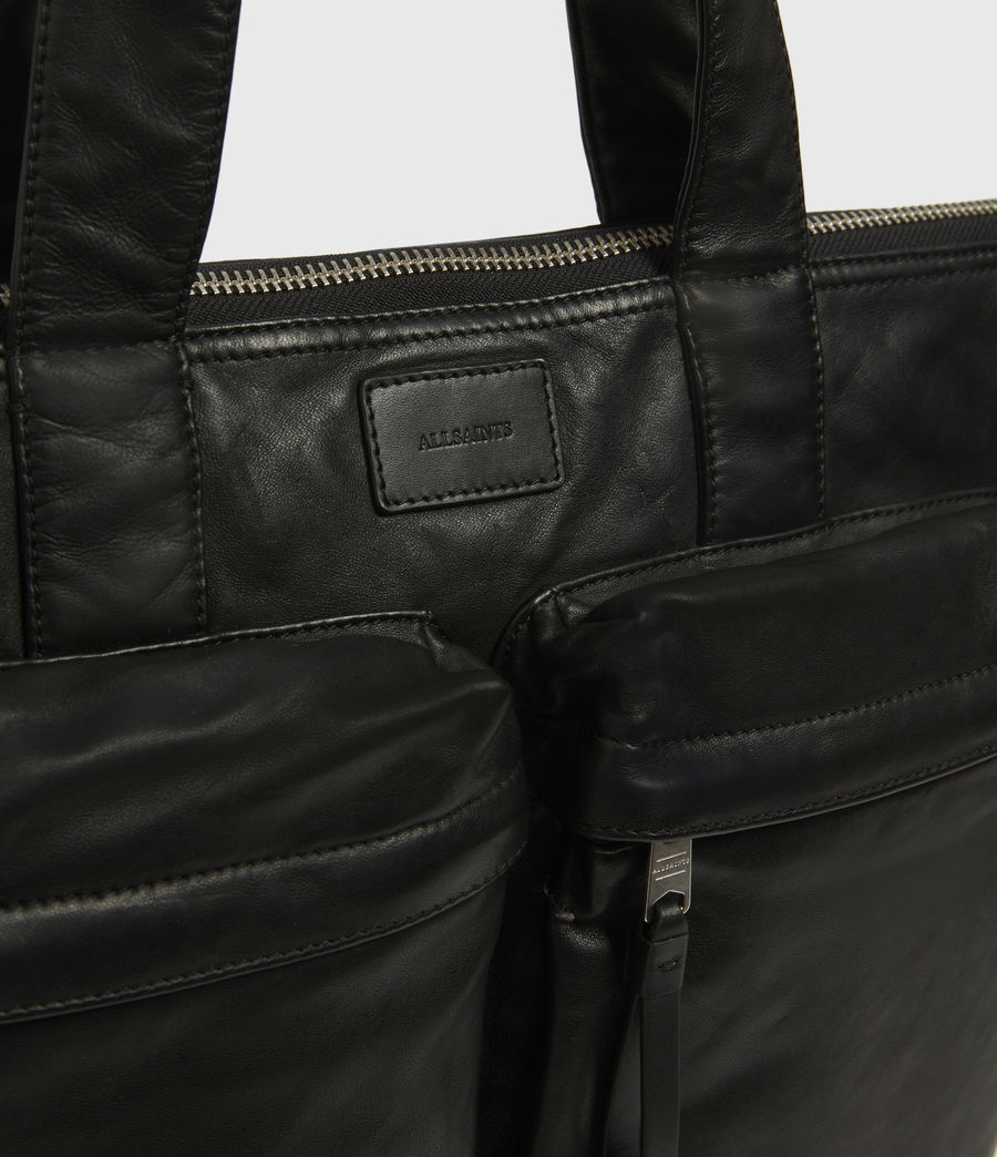 Mens Combat Leather Tote Bag (black) - Image 4