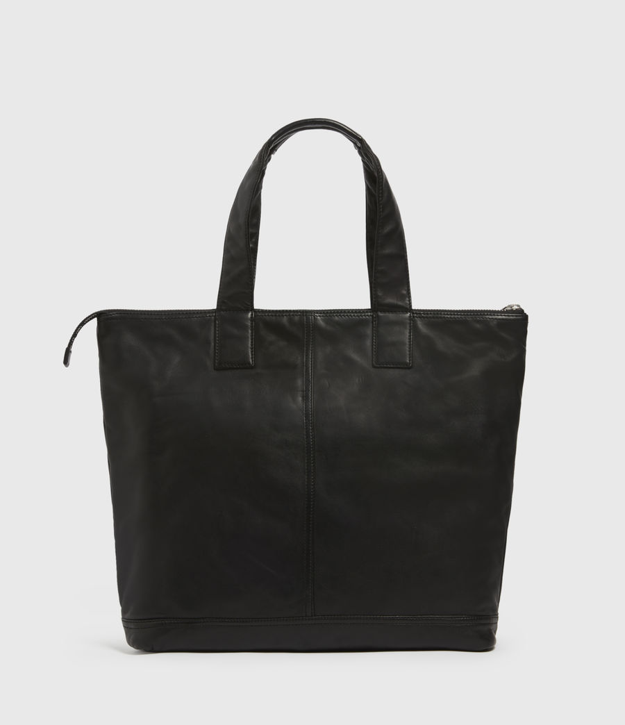Mens Combat Leather Tote Bag (black) - Image 5
