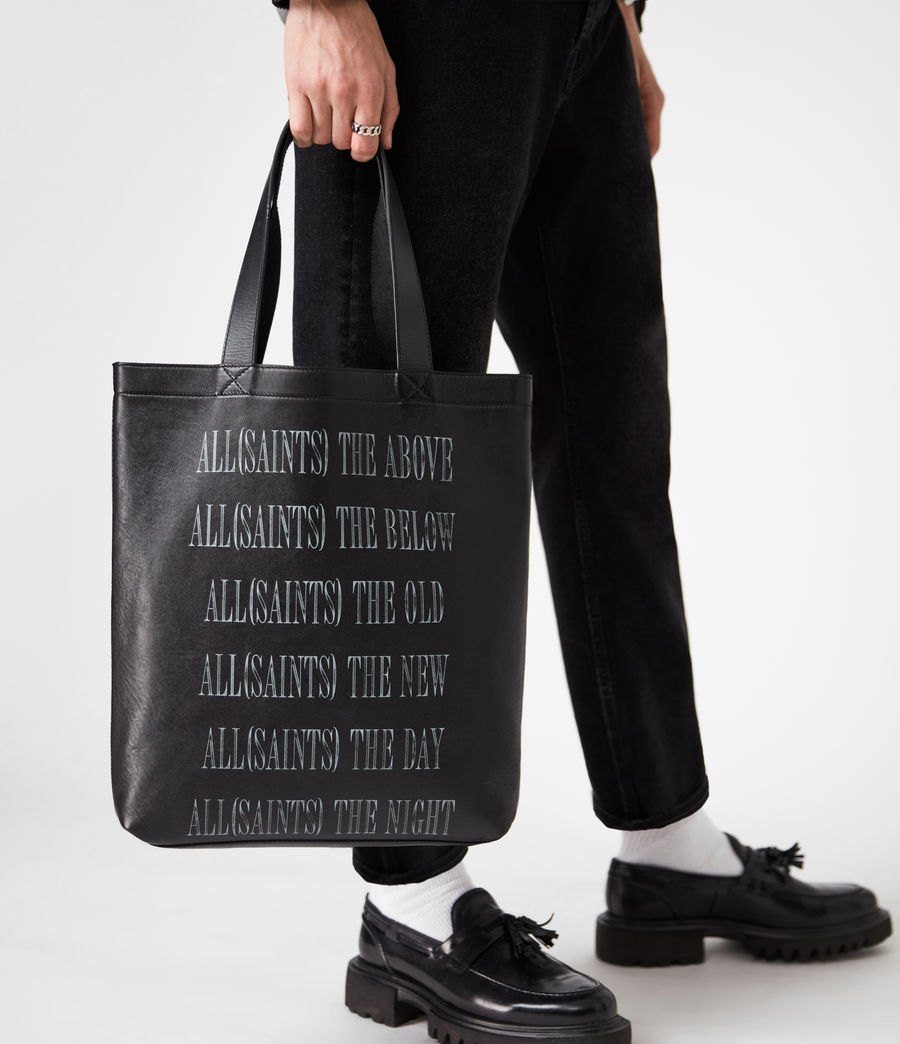 Men's Stamp Leather Tote Bag (black) - Image 1