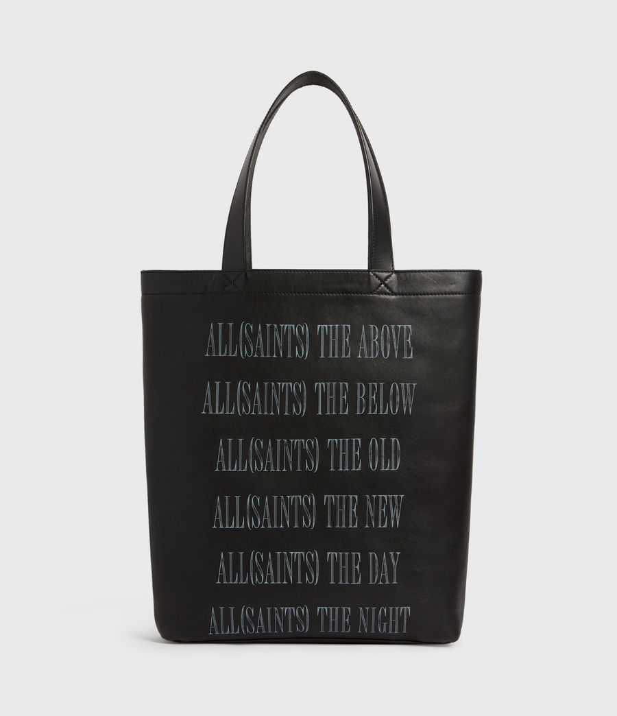 Men's Stamp Leather Tote Bag (black) - Image 2