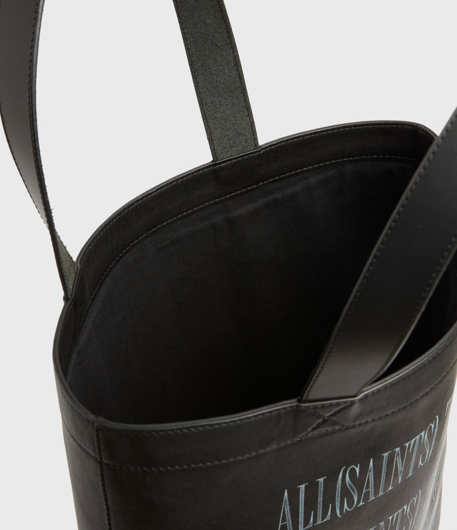 Men's Stamp Leather Tote Bag (black) - Image 3