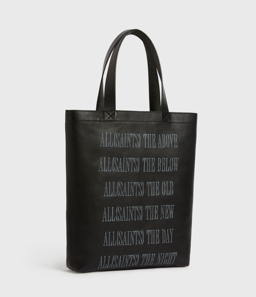 Men's Stamp Leather Tote Bag (black) - Image 5