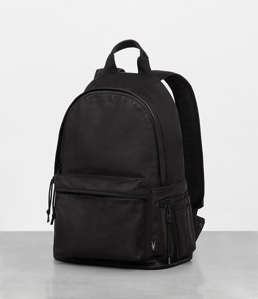 Mens Hayes Leather Rucksack (black) - Image 3