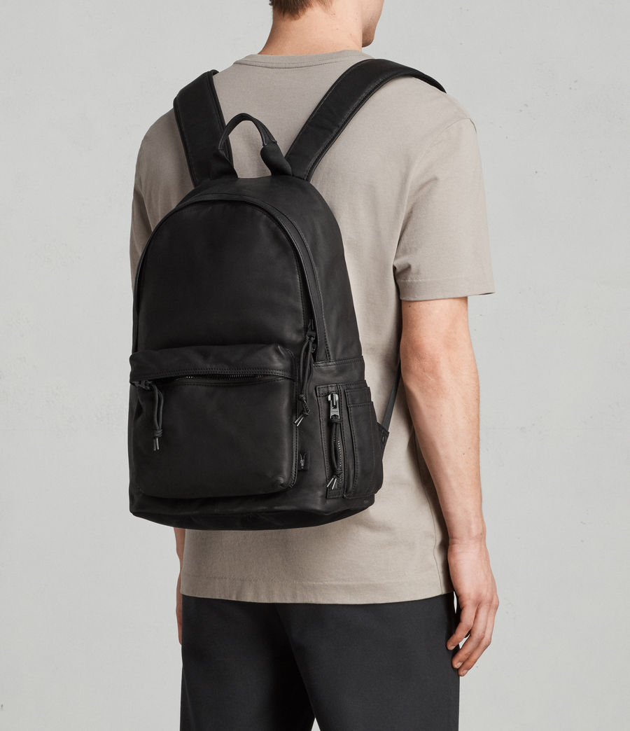 Mens Hayes Leather Rucksack (black) - Image 8