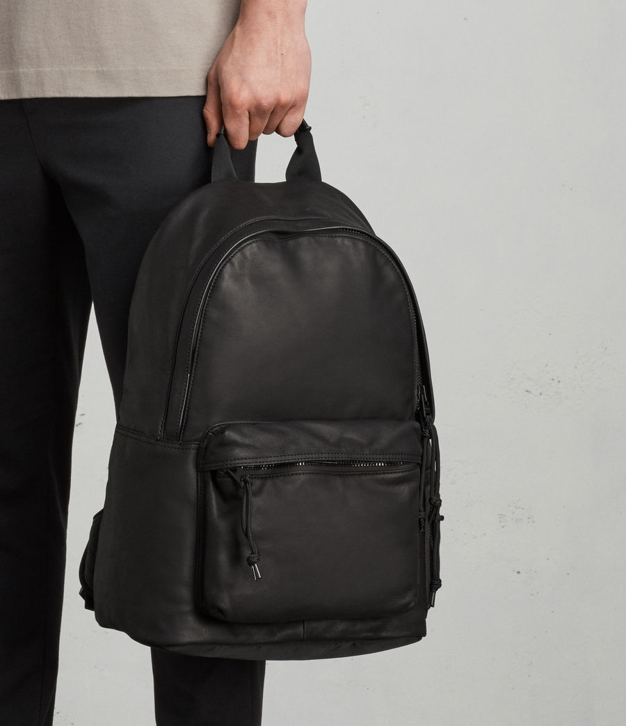 Mens Hayes Leather Rucksack (black) - Image 9