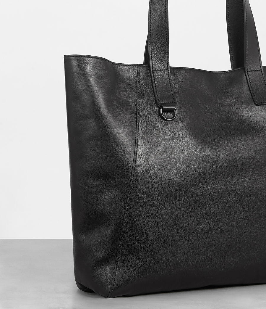 Men's Hudson Leather Tote (black) - Image 3