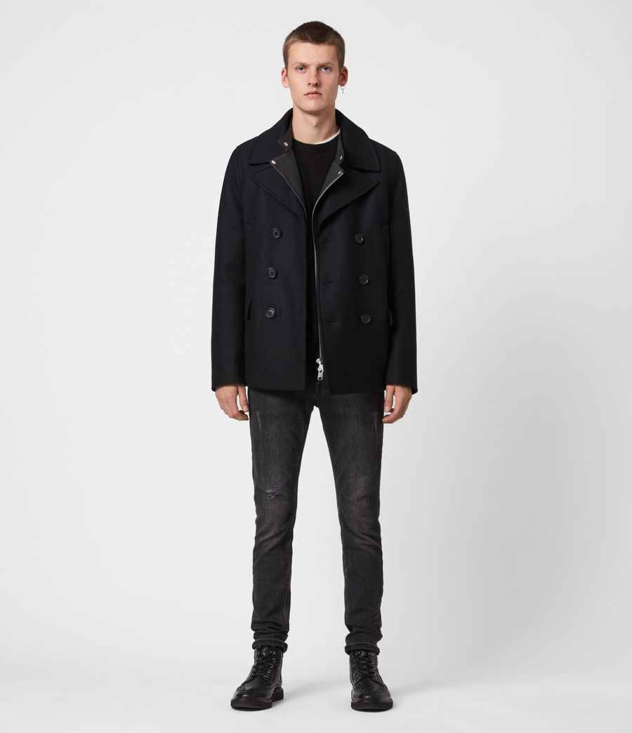 Hommes Altair Wool Blend Peacoat (black) - Image 4