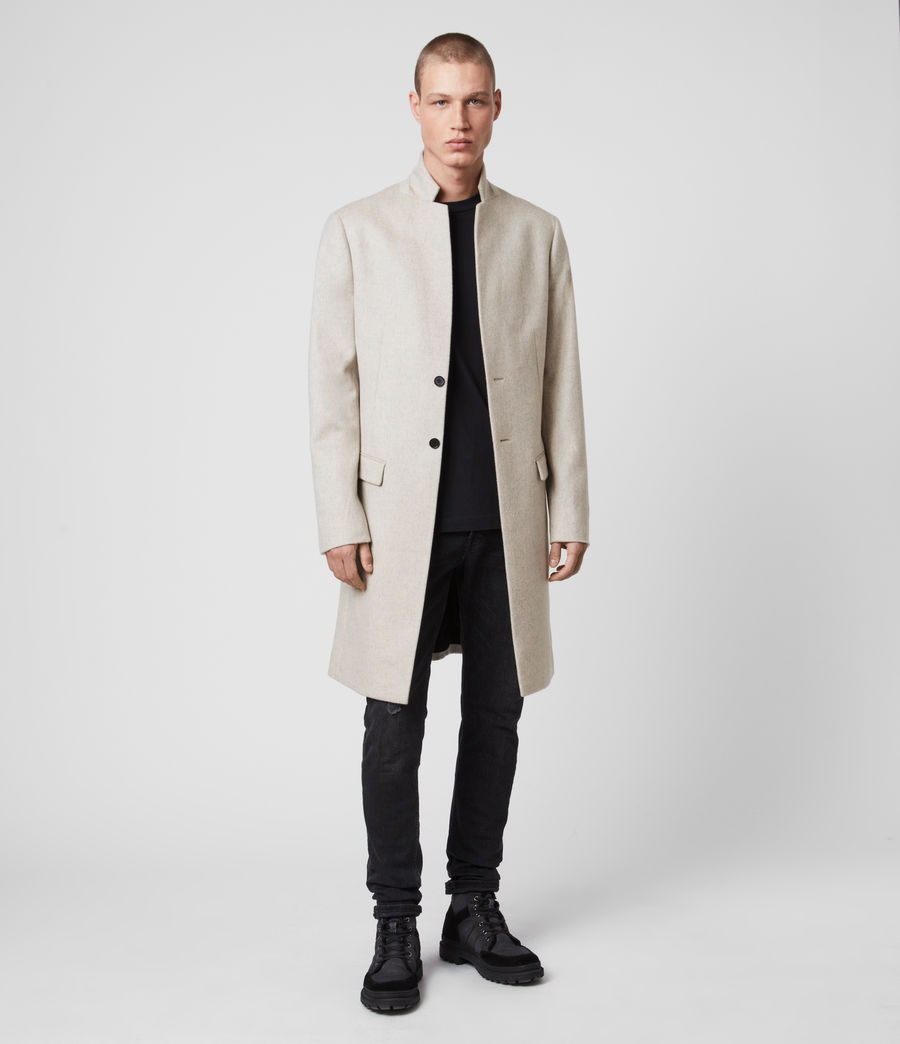 Mens Birdstow Wool Coat (oatmeal) - Image 3